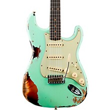 1962 Heavy Relic Stratocaster Electric Guitar Surf Green Over 3-Color Sunburst