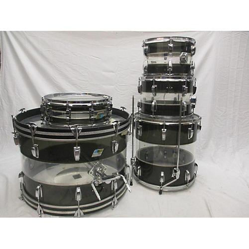vintage ludwig 1970s vistalite tivoli pattern a drum kit smoke clear guitar center. Black Bedroom Furniture Sets. Home Design Ideas