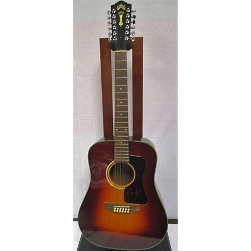 vintage guild 1980s d25 12 12 string acoustic guitar sumburst guitar center. Black Bedroom Furniture Sets. Home Design Ideas