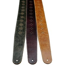 "Perri's 2.5"" Distressed Leather Guitar Strap with Perforated Vents and Soft Leather Back"