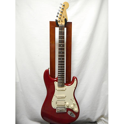 used fender 2001 american deluxe stratocaster hss solid body electric guitar trans red guitar. Black Bedroom Furniture Sets. Home Design Ideas
