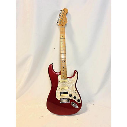 used fender 2010s american deluxe stratocaster v neck solid body electric guitar candy apple red. Black Bedroom Furniture Sets. Home Design Ideas