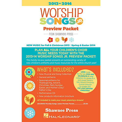Shawnee Press 2013-2014 Worship Songs Junior Preview Packet Resource Kit Composed by Various