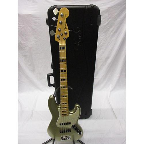 used fender 2018 american elite jazz bass 5 string electric bass guitar champagne sparkle. Black Bedroom Furniture Sets. Home Design Ideas