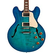 2018 ES-335 Figured Semi-Hollow Electric Guitar Aqua Marine 3-Ply White Pickguard