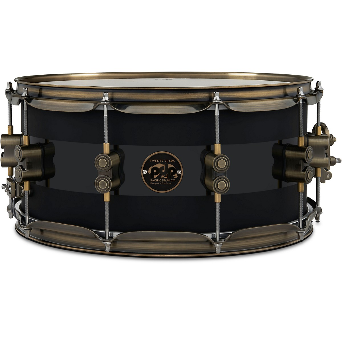 PDP by DW 20th Anniversary Snare Drum, Matte/Gloss Black, Antique Bronze Hardware