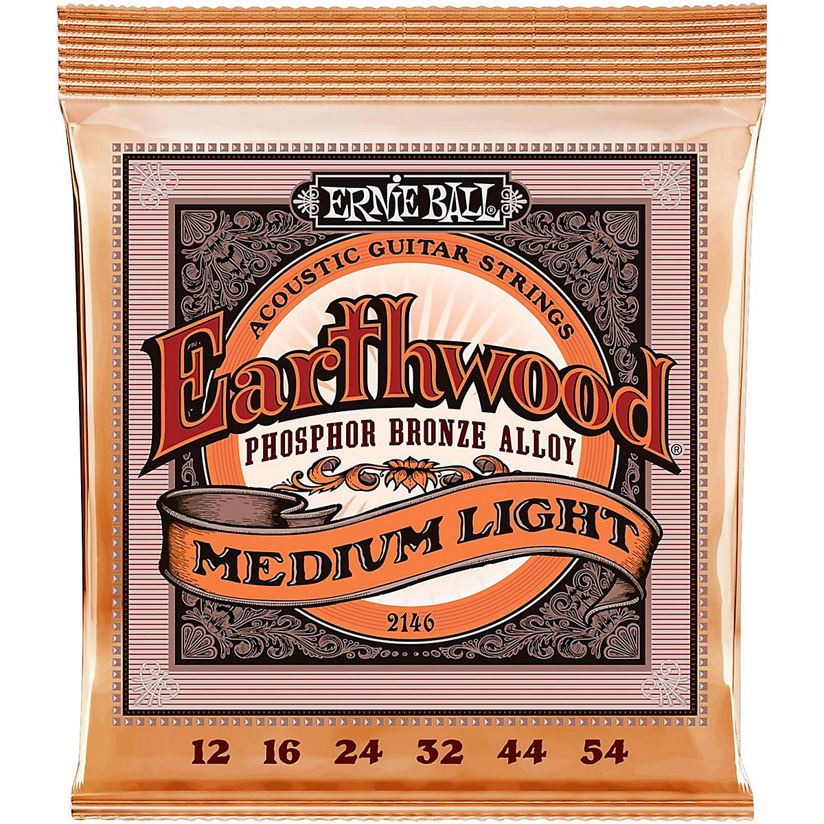 Ernie Ball 2146 Earthwood Phosphor Bronze Medium-Light Acoustic Guitar Strings