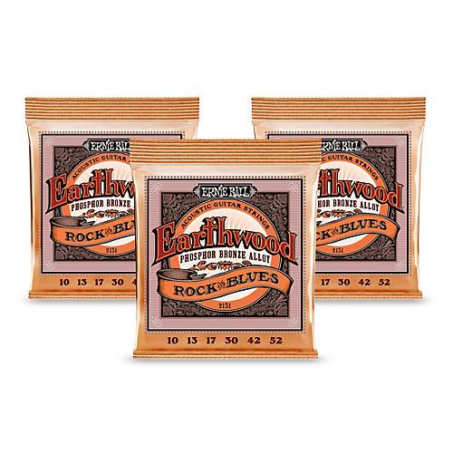 Ernie Ball 2151 Earthwood Phosphor Bronze Rock and Blues Acoustic Guitar Strings 3-Pack