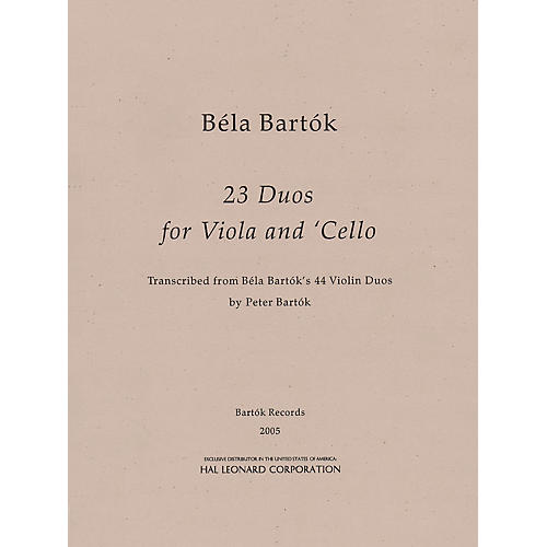 Bartók Records and Publications 23 Duos for Viola and Cello Misc Series Softcover Composed by Béla Bartók Edited by Peter Bartók