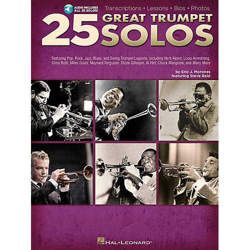 Hal Leonard 25 Great Trumpet Solos Book/Online Audio includes Transcriptions * Lessons * Bios * Photos