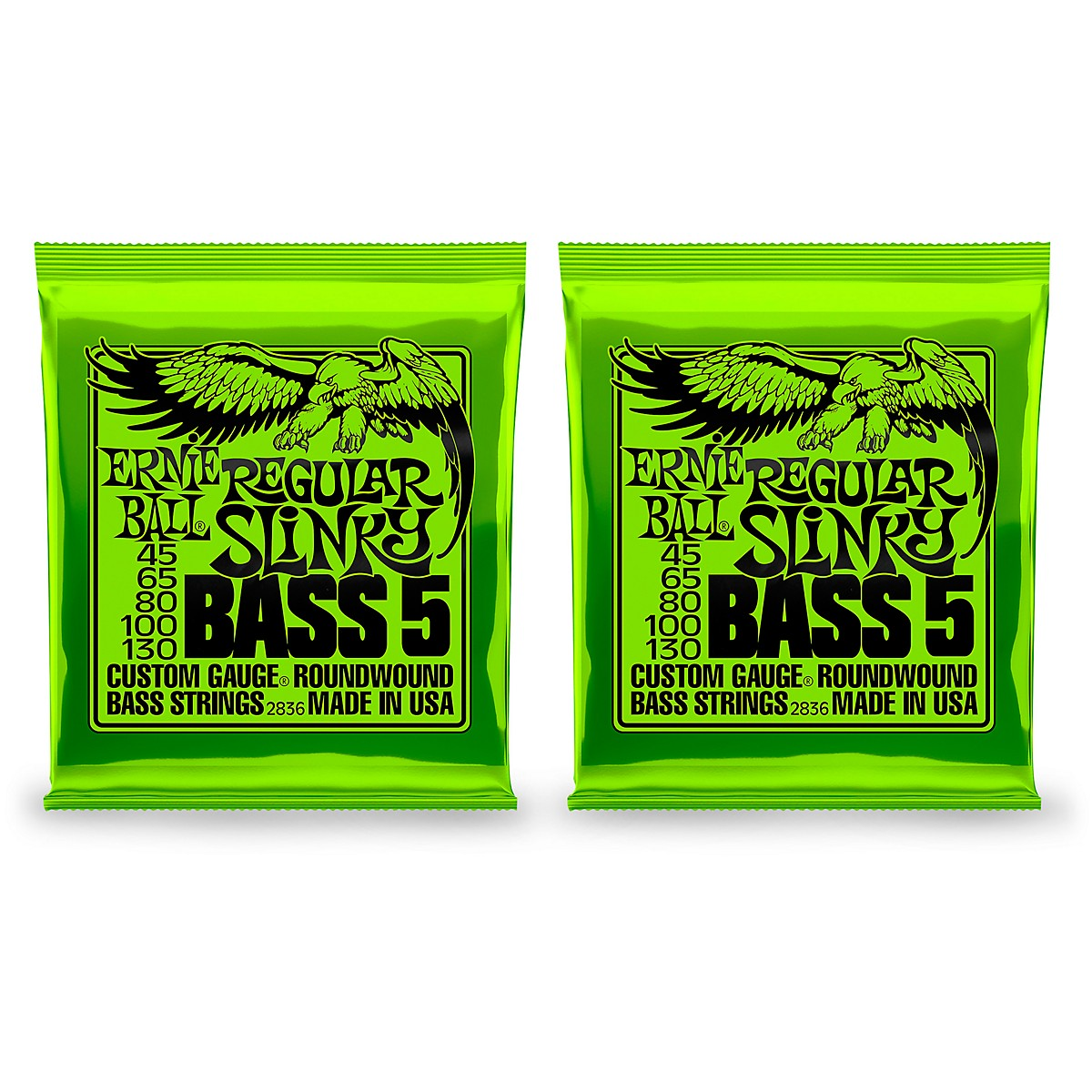 Ernie Ball 2836 Regular Slinky 5-String Bass Strings 2 Pack