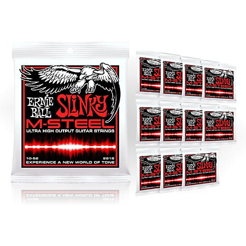 Ernie Ball 2915 M-Steel Skinny Top Heavy Bottom Electric Guitar Strings - Buy 10, Get 2 FREE