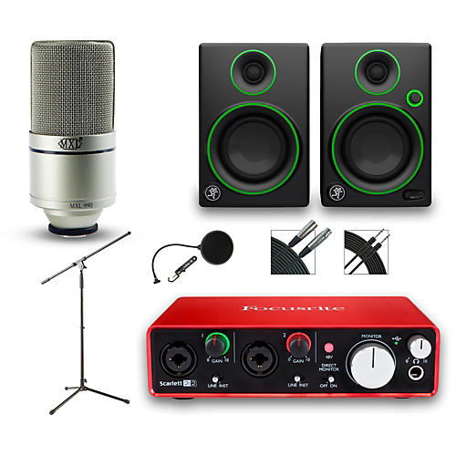 Focusrite 2i2 Recording Bundle With MXL 990 And Mackie CR3 Monitors