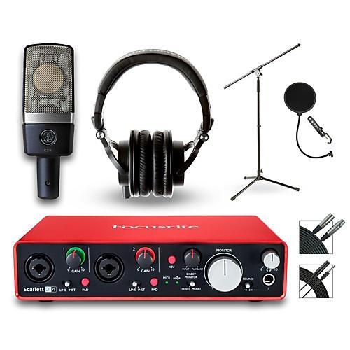Focusrite 2i4 Recording Bundle with AKG Mic and Audio-Technica Headphones