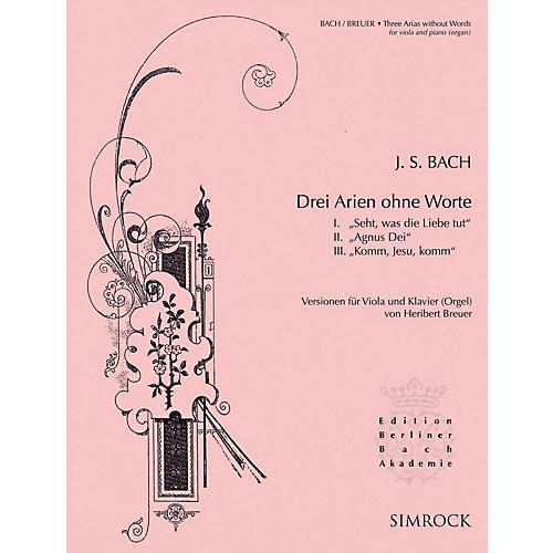 Simrock 3 Arias Without Words (Viola and Piano or Organ) Boosey & Hawkes Chamber Music Series Softcover