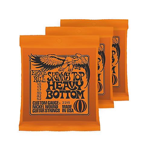 Ernie Ball 3 Pack 2215 Nickel Skinny Top/Heavy Bottom Electric Guitar Strings Bundle