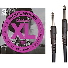 D'Addario 3-Pack Electric Guitar Strings with Free 10' Cable Bundle