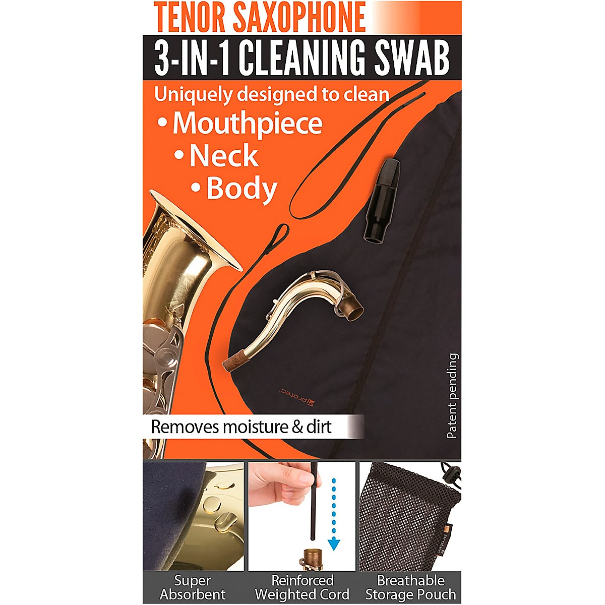Protec 3-in-1 Tenor Saxophone Swab (Body, Neck, and Mouthpiece)