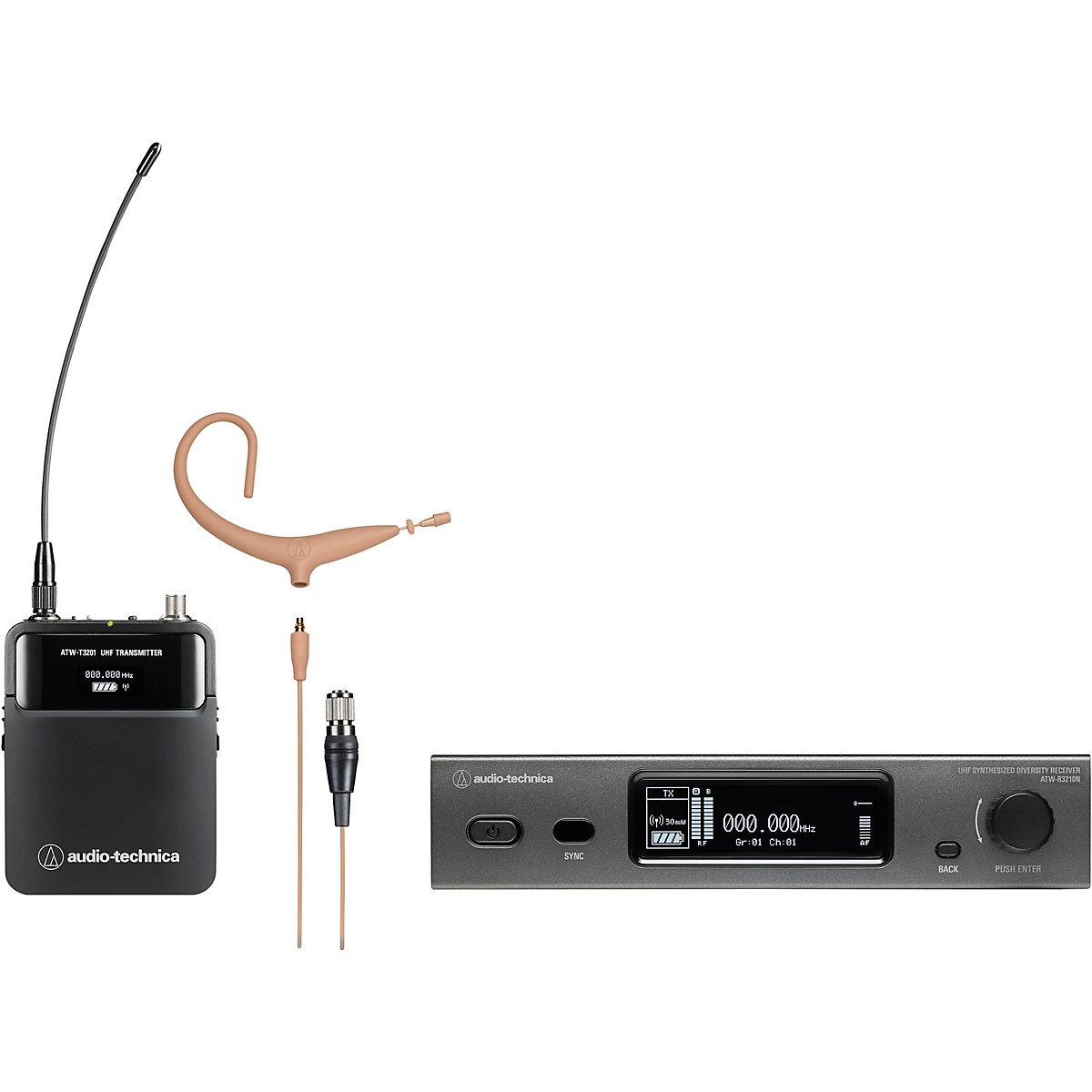Audio-Technica 3000 Series (4th Gen) Network Enabled UHF Wireless with BP893xcH-TH MicroEarset Omnidirectional Condenser Headworn Microphone