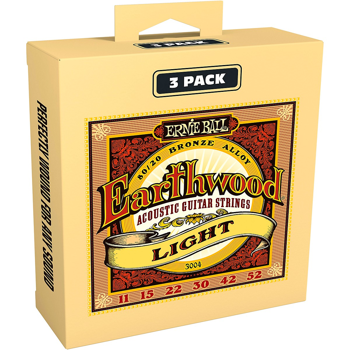 Ernie Ball 3004 Earthwood 80/20 Bronze Light Acoustic Guitar Strings 3-Pack