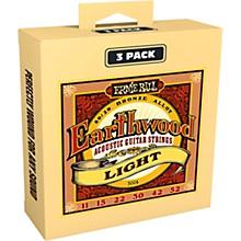 Ernie Ball 3004 Earthwood 80/20 Bronze Light Acoustic Guitar Strings 3-Pack