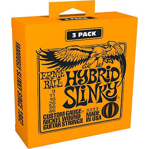 Ernie Ball 3222 Nickel Hybrid Slinky Electric Guitar Strings 3-Pack