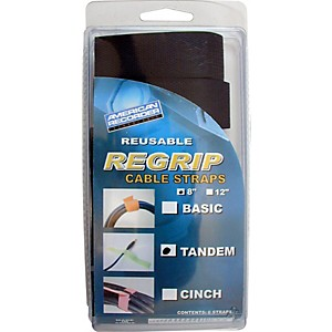 American Recorder Technologies Regrip Reusable Cable Strap 6-Pack 8 In Tandem Style Black