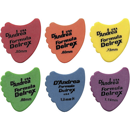 D'Andrea 390 Sharkfin Delrex Delrin Guitar Picks - One Dozen