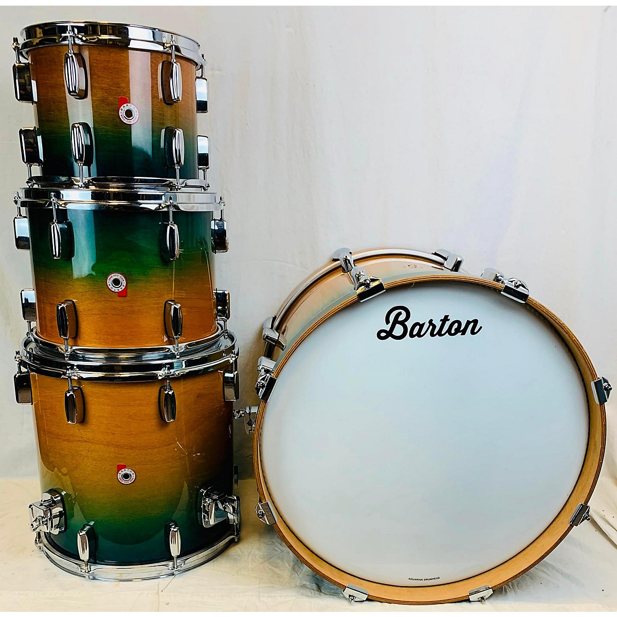Barton Drums 4 Pc Teal Honey Fade Drum Kit