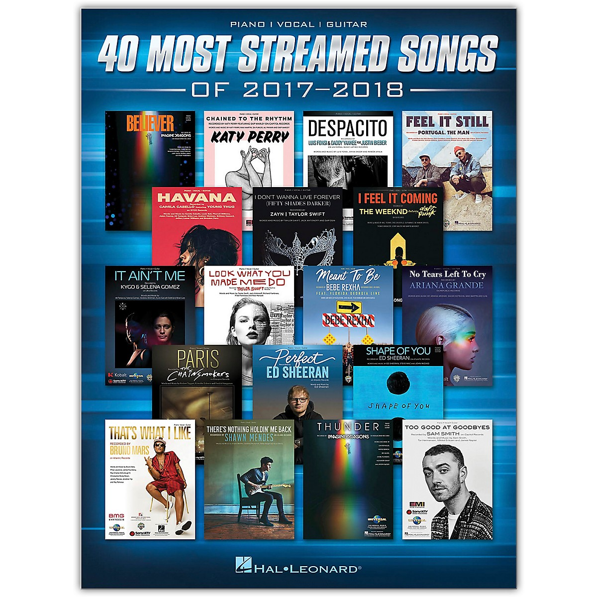 Hal Leonard 40 Most Streamed Songs of 2017-2018 Piano/Vocal/Guitar Songbook