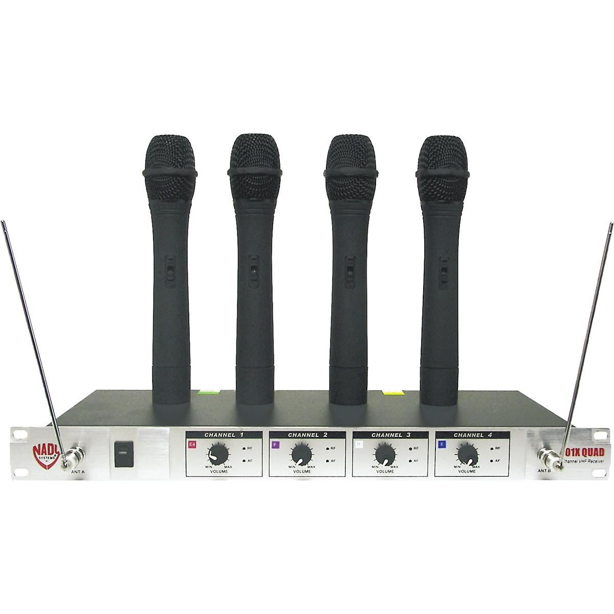 Nady 401X Quad WHT Handheld VHF Wireless Microphone System