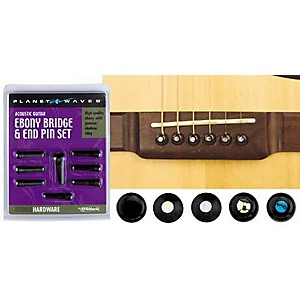 D'addario Planet Waves Ebony Bridge/End Pin Set Ebony And Pearl