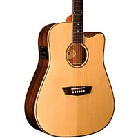 Washburn Wd25sce Solid Sitka Spruce Top Acoustic Cutaway Electric Dreadnought Rosewood Guitar With Fishman Preamp And Tuner Natural