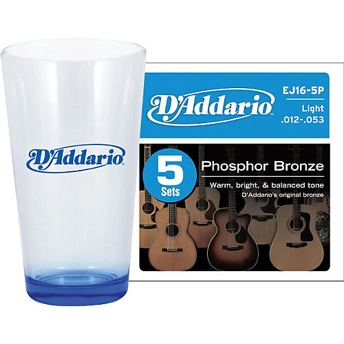 D'Addario 5-Pack EJ16 with Pint Glass