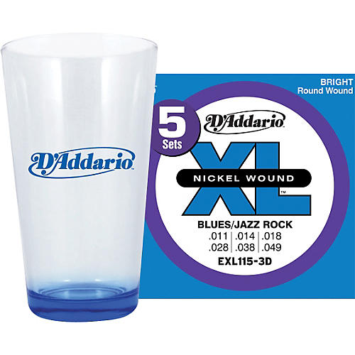 D'Addario 5-Pack EXL115 with Pint Glass