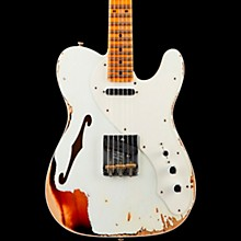 50s Custom Thinline Telecaster Electric Guitar Aged Olympic White Over 3-Tone Sunburst