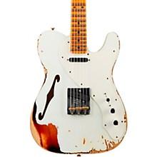 50s Custom Thinline Telecaster Electric Guitar Aged Olympic White Over 3-Tone Sunburst