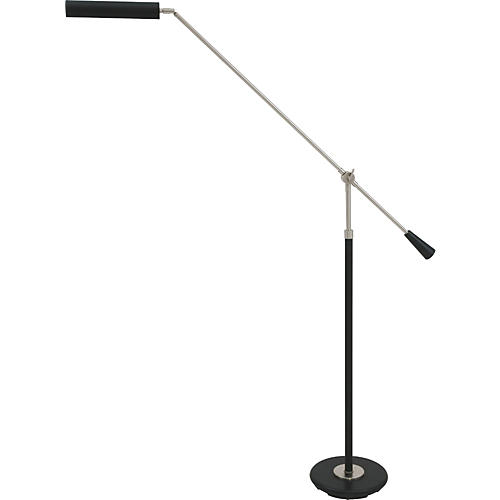 House Of Troy 527 Black Piano Floor Lamp With Satin Nickel Boom