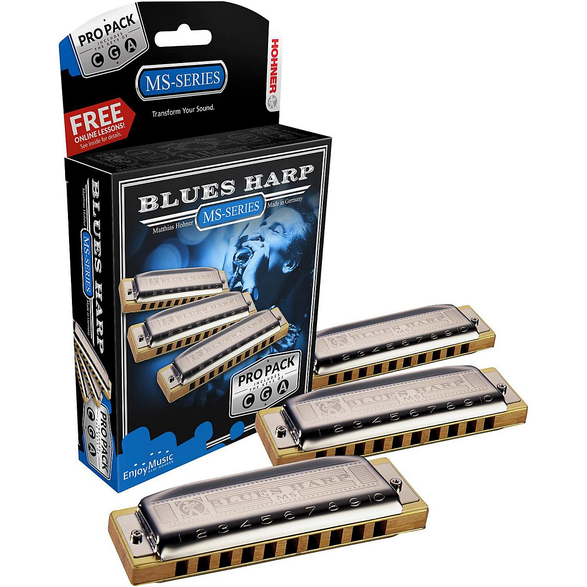 Hohner 532 Blues Harp Pro Pack - MS-Series Harmonicas