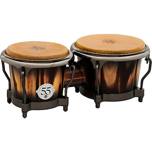 LP 55th Anniversary Bongo Set with Burnt New Zealand Pine, Candy Black Burst and Black Nickel Hardware