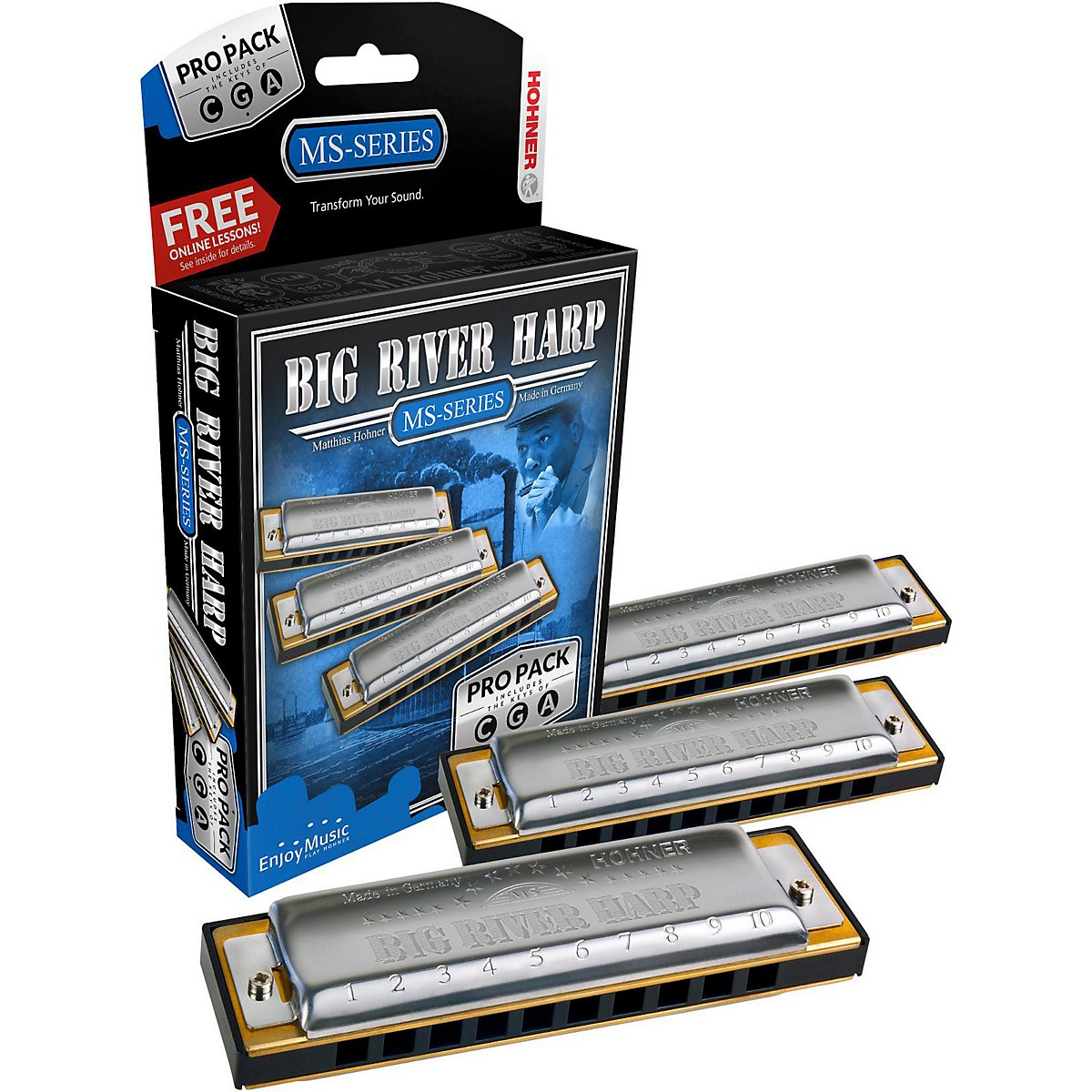 Hohner 590 Big River Harp Pro Pack - MS-Series Harmonicas
