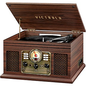 victrola 6 in 1 nostalgic bluetooth record player with cd cassette and radio espresso guitar. Black Bedroom Furniture Sets. Home Design Ideas
