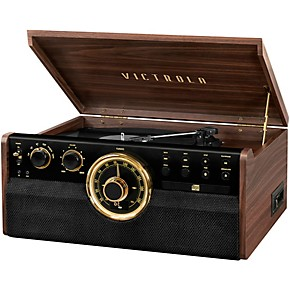 victrola 6 in 1 wood empire mid century modern bluetooth record player with 3 speed turntable. Black Bedroom Furniture Sets. Home Design Ideas