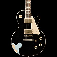 Gibson Custom 60s Standard Historic Les Paul Lightly Aged Electric Guitar Black Over Frost Blue