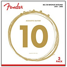 Fender 70XL 80/20 Phosphore Bronze Acoustic Guitar Strings 3-Pack, Extra Light Guage 10-48