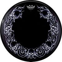 Remo Powerstroke Tattoo Skyn Bass Drumhead, Black 22 In. Skulls