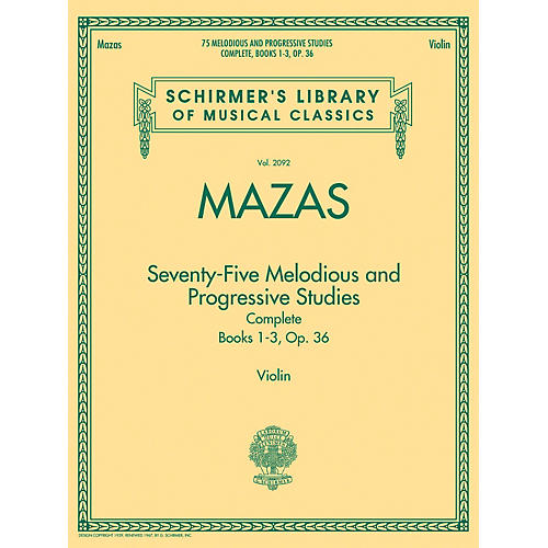 G. Schirmer 75 Melodious and Progressive Studies Complete, Op. 36 String Series Softcover