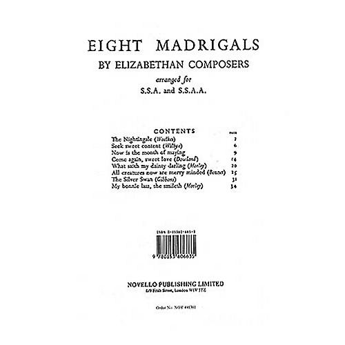 Novello 8 Madrigals by Elizabethan Composers COLLECTION Composed by Various