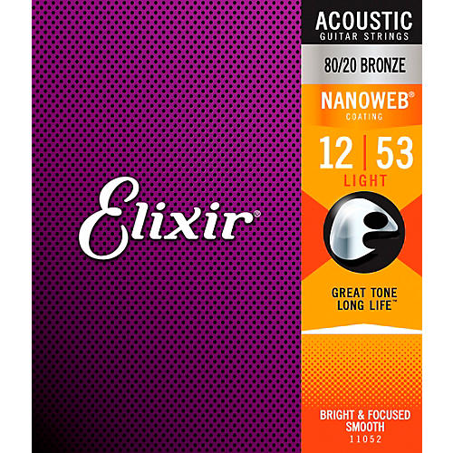 Elixir 80/20 Bronze Acoustic Guitar Strings with NANOWEB Coating, Light (.012-.053)