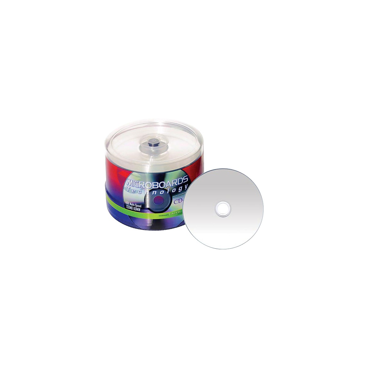 Taiyo Yuden 80 Minute/700 MB CD-R 52X Silver Thermal (Hub Printable-Everest) 100 Disc Spindle Regular